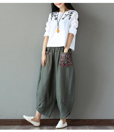 Patchwork Pocket Harem Pants (2 Colors)