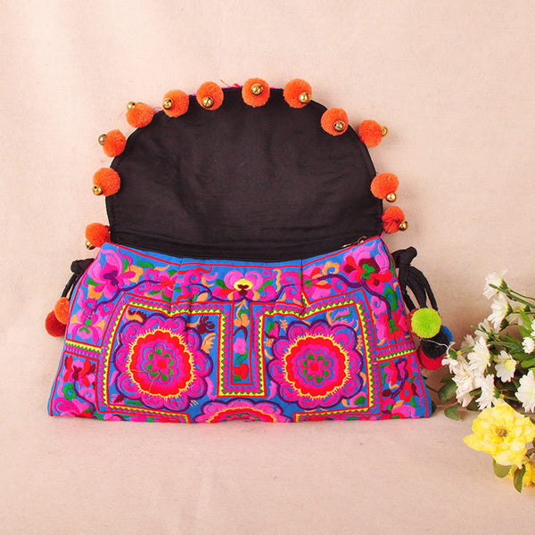 Embroidered Envelope Bag with Pompoms