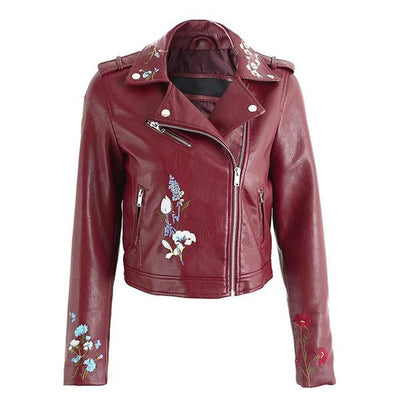 Embroidered Vegan Leather Jacket (4 Colors)