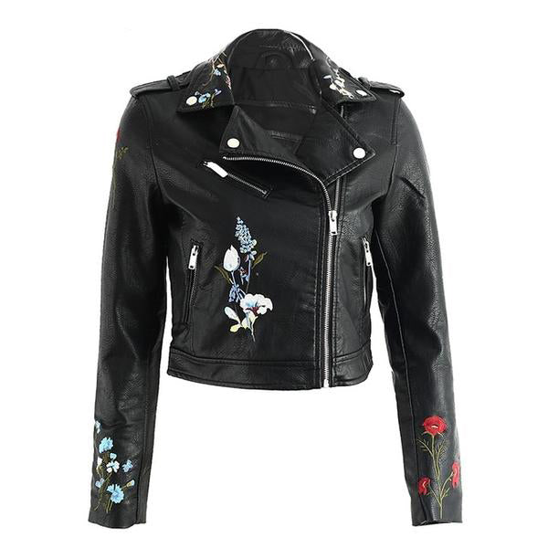 Embroidered Vegan Leather Jacket (5 Colors)