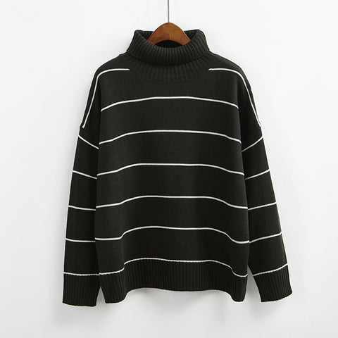 Striped Turtleneck Sweater (6 Colors)