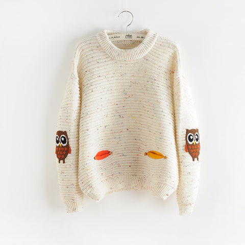 Woodland Owl Patch Sweater
