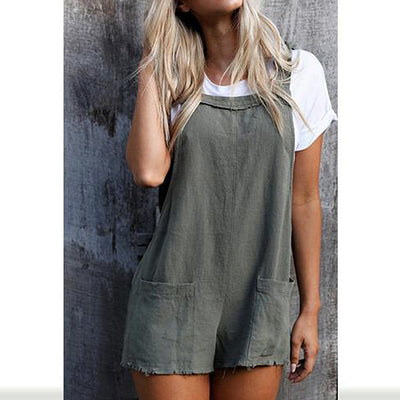 Hali Distressed Overall Shorts (2 Colors)