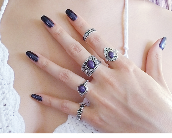 Silver Bohemian Rings Set of 5
