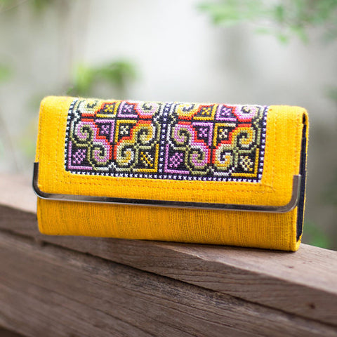 Yellow Embroidered Wallet
