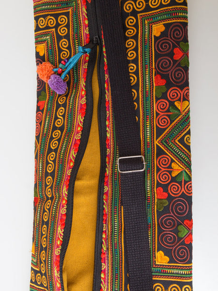 Yellow Embroidered Yoga Mat Bag