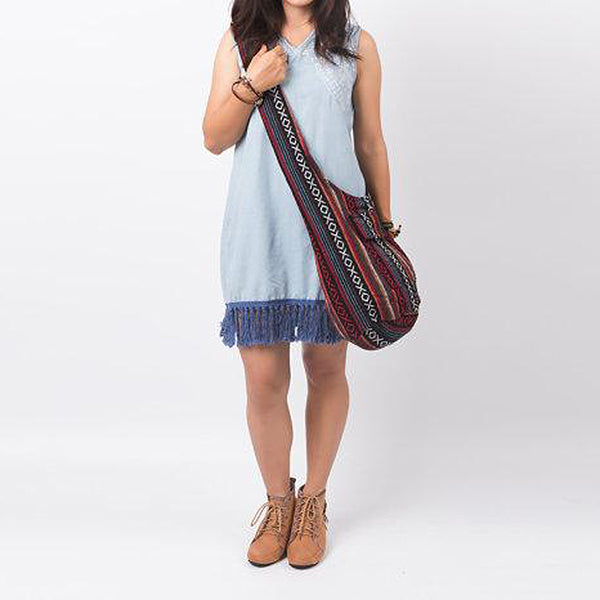 Red Woven Sling Bag