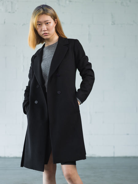 ::AW19 Side Slit Double Breasted Wool Coat