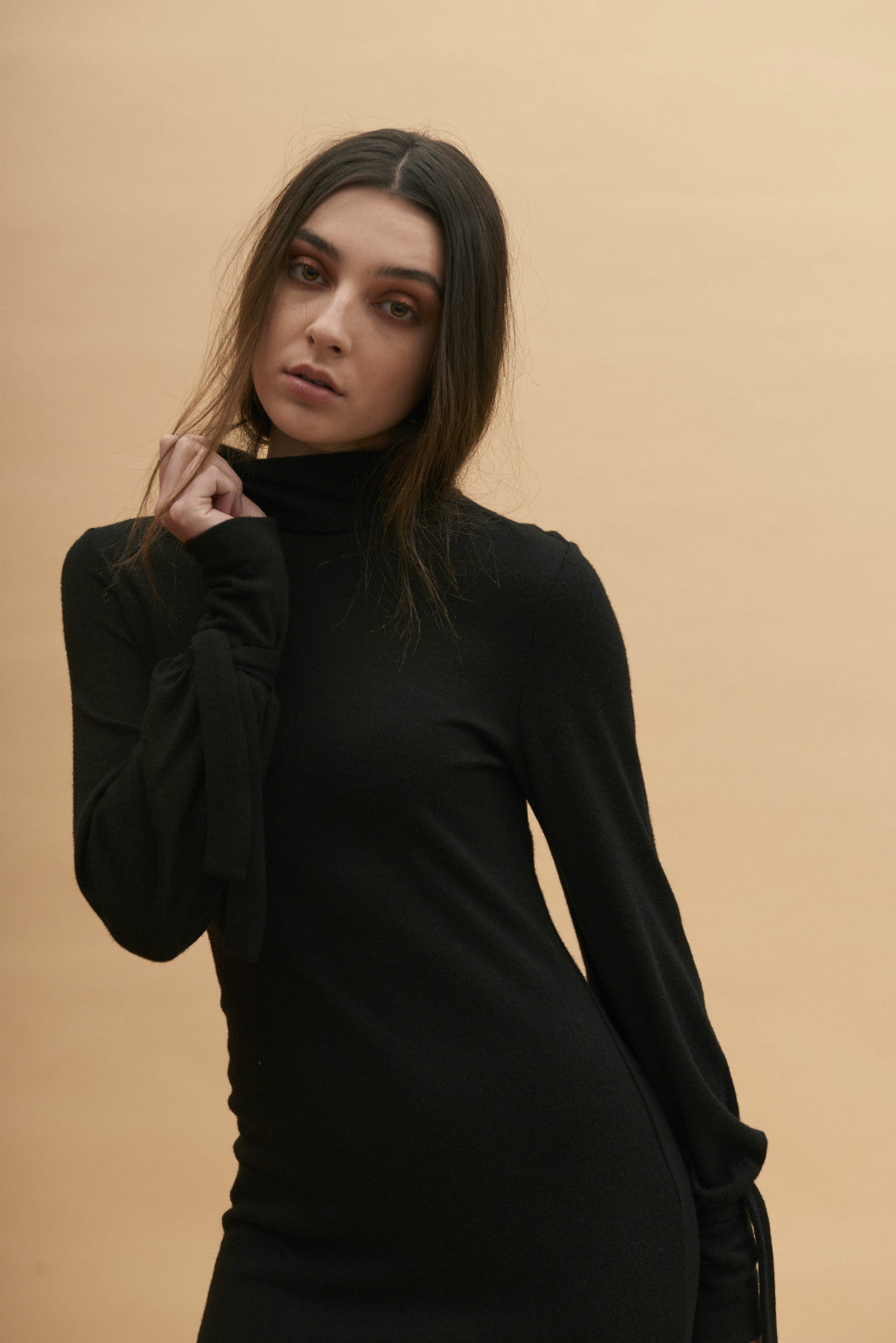 :AW17 Turtleneck Dress w/ Tie Sleeves