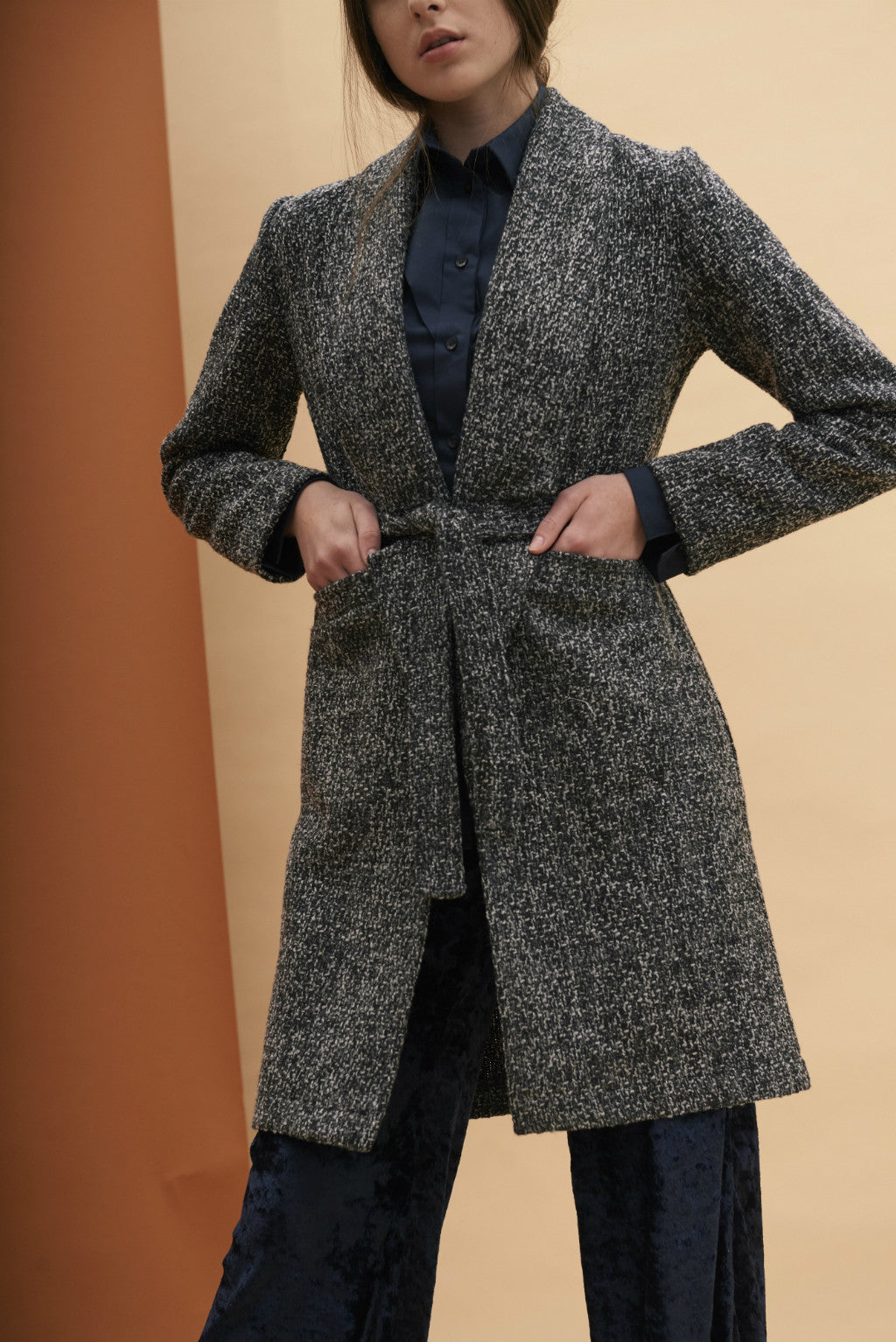 AW17 Longline Open Lapel Coat