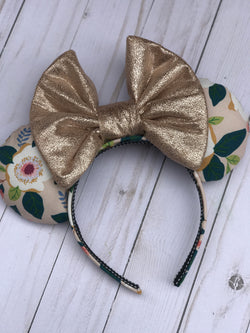 Floral Printed Ears with Metallic Bow