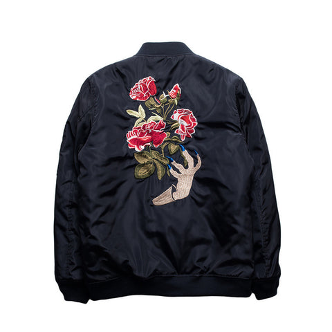 Floral Rose Bomber Jacket - Alpha Style Co. - 1