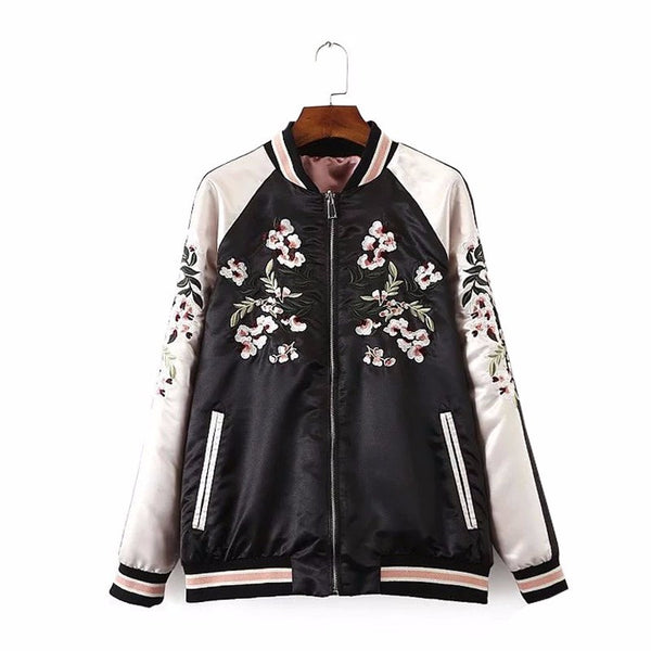 Floral Pink Reversible Bomber Jacket - Alpha Style Co. - 2