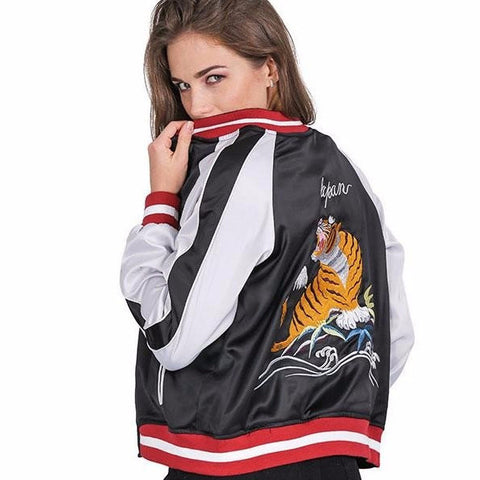 Eagle x Tiger Embroidered Reversible Bomber Jacket - Alpha Style Co. - 1