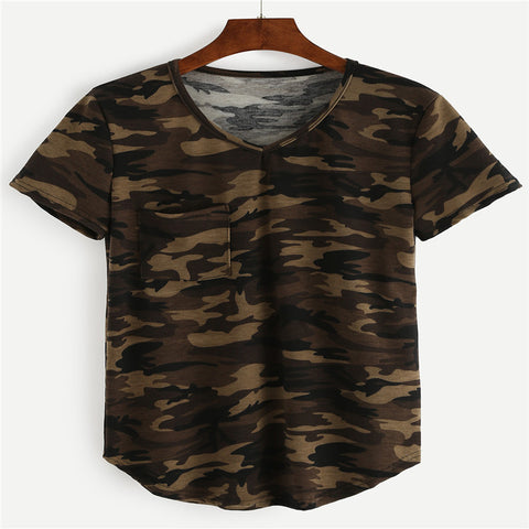 Camouflage Print Loose T-Shirt