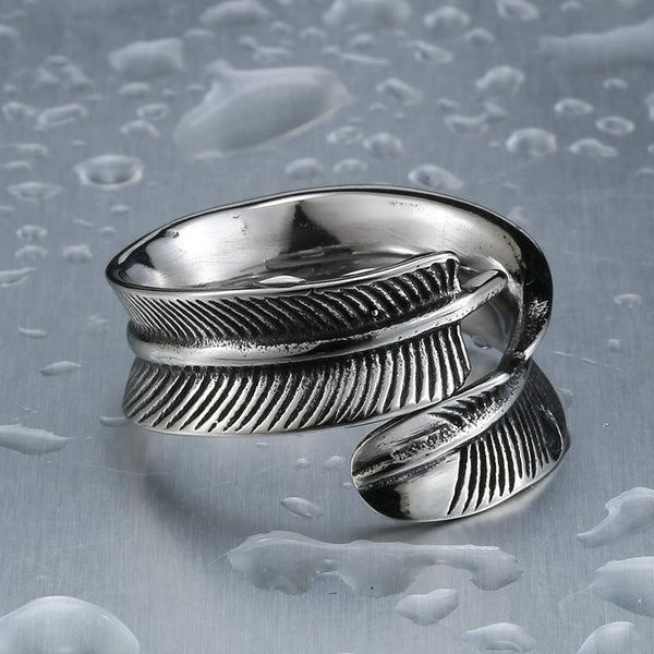 **Popular** Feather Ring Stainless Steel Vintage Ring