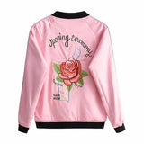 Autumn Embroidery Pink Rose Bomber Jacket