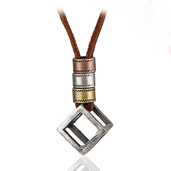 Cube Piece Pendant Leather Necklace