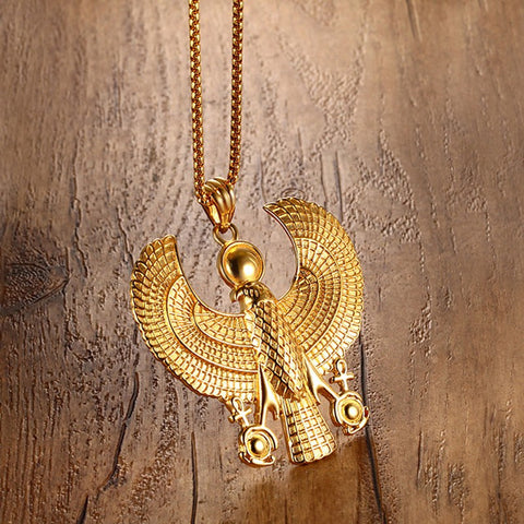 Gold Plate Flying Horus Pendant Vintage Necklace