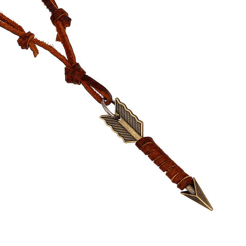 Genuine Golden Arrow Leather Necklace - Hot Seller