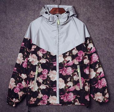 Reflective Floral Windbreaker - Alpha Style Co.