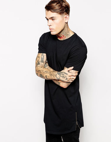 Lavish Longline T-Shirt With Side Zipper