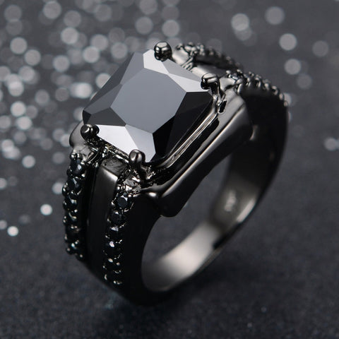 4KT Black Gold Filled Black Sapphire Ring