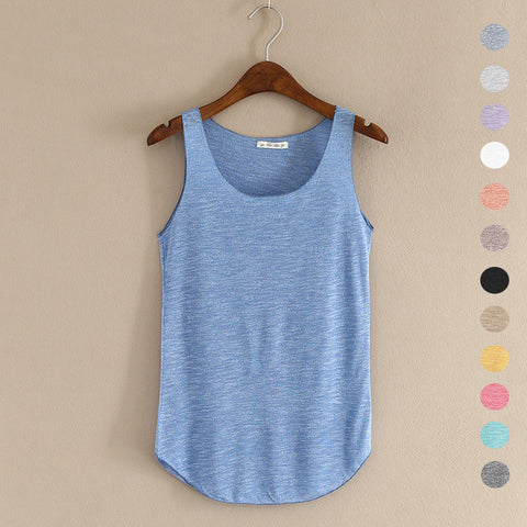 Summer Loose-Fitness Cotton O-neck Slim Tank Top