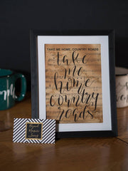 Take Me Home Country Roads Hand Lettered Sheet Music | 5x7, 8x10, or 11x14 - Beyond Measure Living