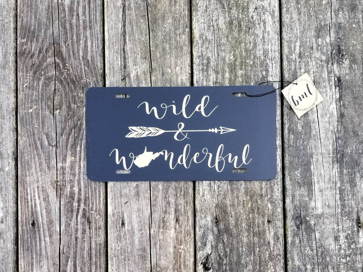 West Virginia Wild & Wonderful License Plate | Hand Lettered Calligraphy - Beyond Measure Living
