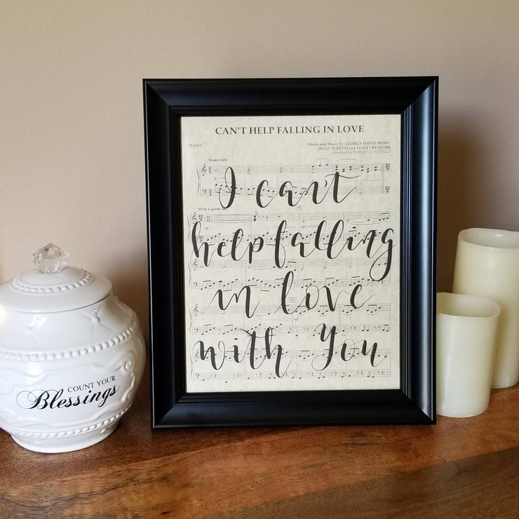 I Can't Help Falling In Love With You Hand Lettered Sheet Music | 5x7, 8x10, or 11x14 - Beyond Measure Living