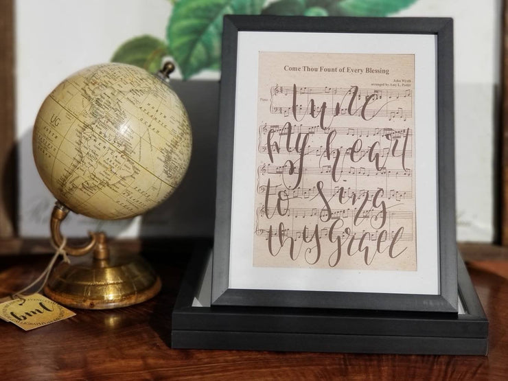 Come Thou Fount Of Every Blessing Hand Lettered Sheet Music | 5x7, 8x10, or 11x14 - Beyond Measure Living