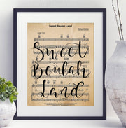 Sweet Beulah Land Hand Lettered Sheet Music | 5x7, 8x10, or 11x14 - Beyond Measure Living