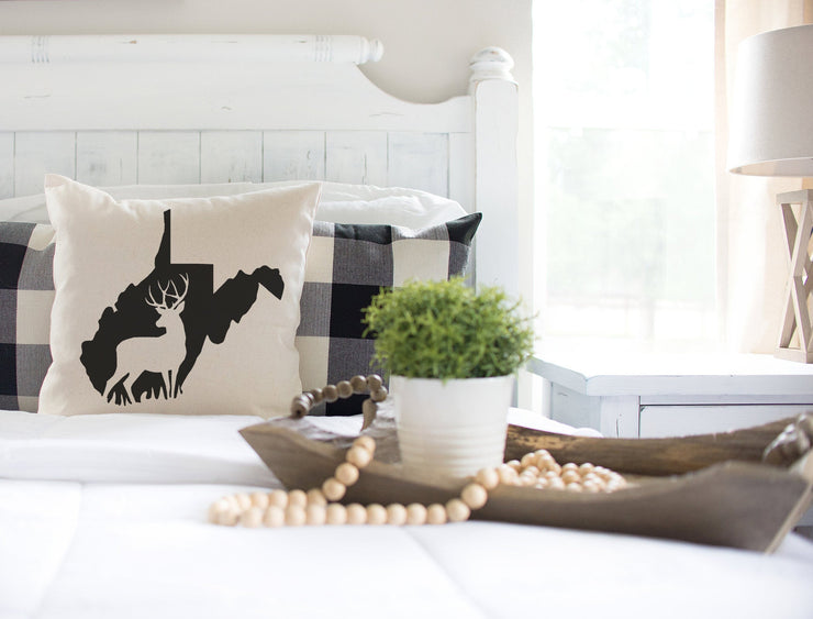 "West Virginia Buck Square Pillow Cover | Natural Linen Color | 18""x18"" - Beyond Measure Living"