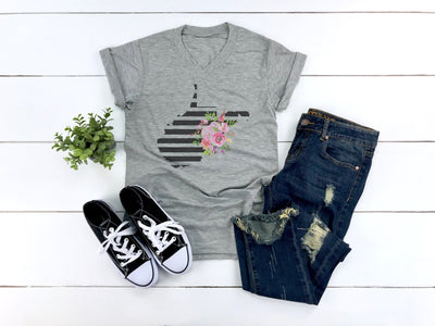 West Virginia Floral Shirt | Black Striped Design with Watercolor Flowers - Beyond Measure Living