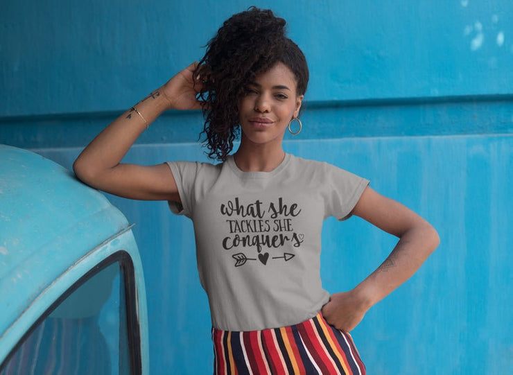 What She Tackles She Conquers T-Shirt | Youth and Adult Sizes - Beyond Measure Living