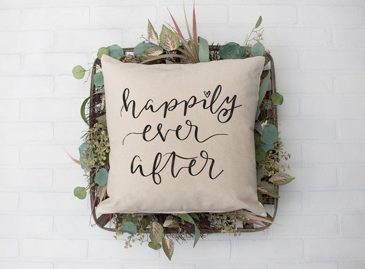 "Happily Ever After - Hand Lettered Square Pillow Cover | Natural Linen Color | 18""x18"" - Beyond Measure Living"