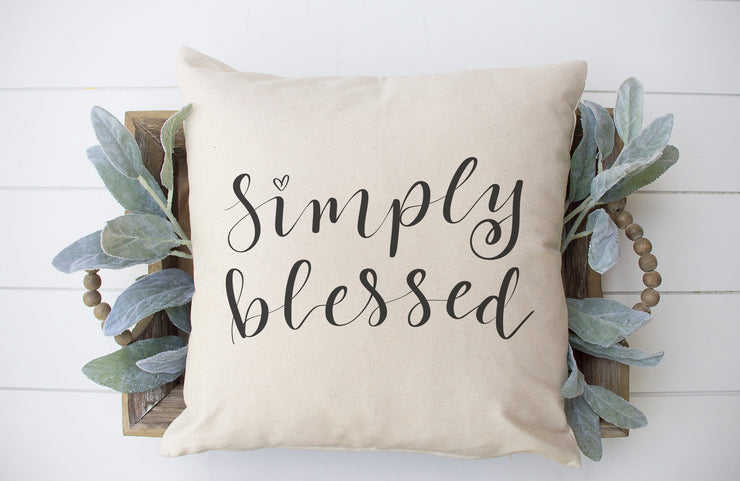 "Simply Blessed | Hand Lettered Throw Pillow | Natural | 18""x18"" 