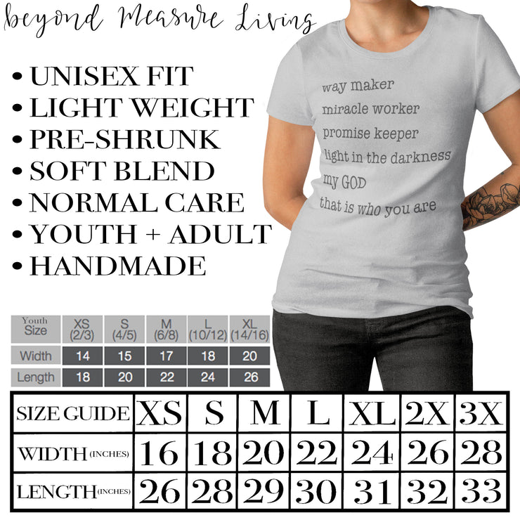 Way Maker Shirt | Christian T-Shirt | Gospel Music Lyrics | Worship | Inspirational Gifts - Beyond Measure Living