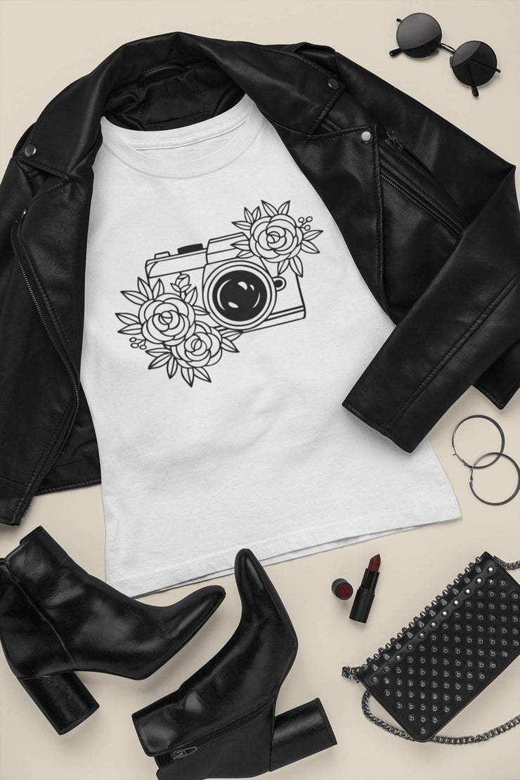 Camera with Flowers T-Shirt | Floral | Luxury Soft | Unisex | High Quality - Beyond Measure Living