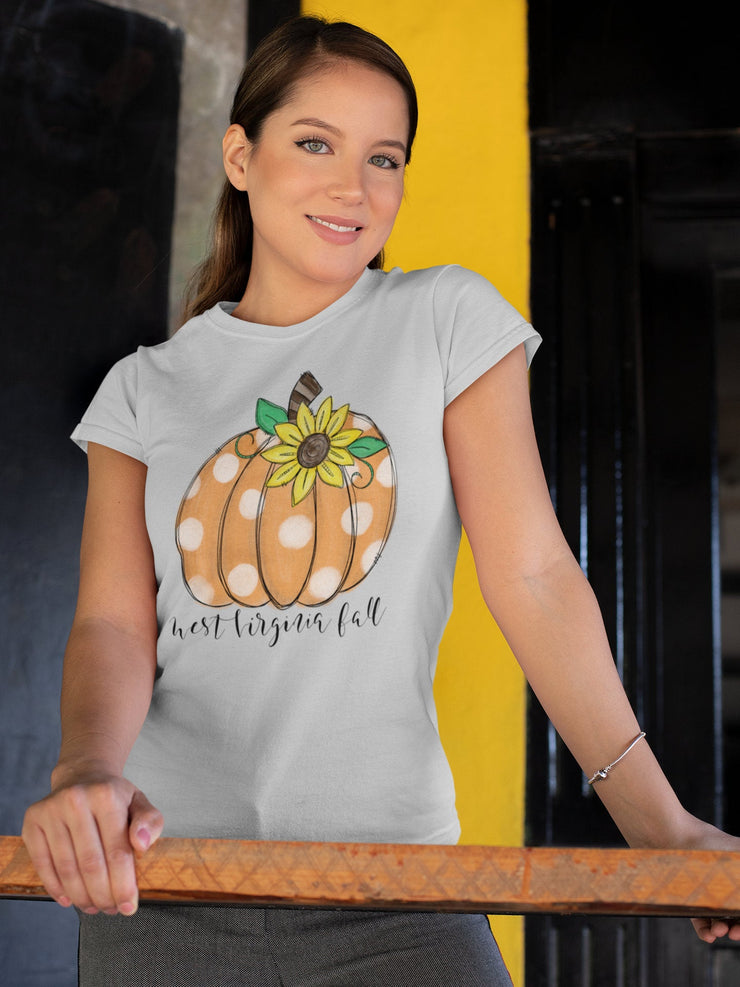 West Virginia Fall | Cute Autumn T-Shirt | Pumpkin, Sunflower, Polka Dots | - Beyond Measure Living