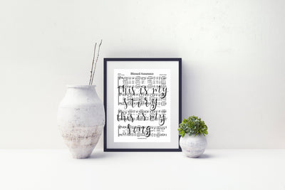 Blessed Assurance Hand Lettered Sheet Music | 5x7, 8x10, or 11x14 - Beyond Measure Living