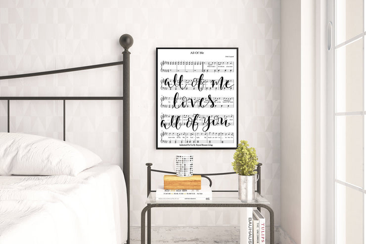 All Of Me Loves All Of You Hand Lettered Sheet Music - Beyond Measure Living