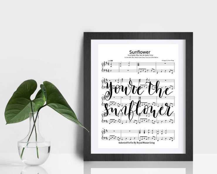 Sunflower Hand Lettered Calligraphy Sheet Music | 5x7, 8x10, or 11x14 - Beyond Measure Living
