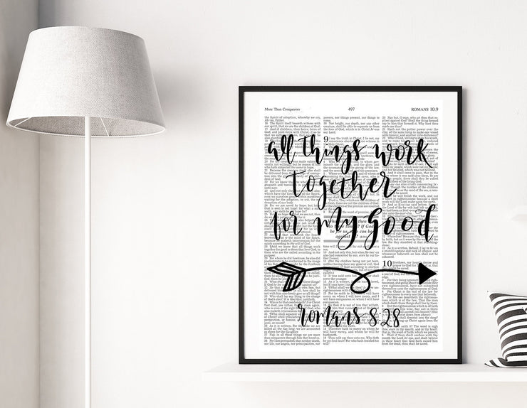All Things Work Together For My Good | Hand Lettered Bible Page | Romans 8:28 | Unframed 5x7, 8x10, or 11x14 | Modern White or Antique Paper - Beyond Measure Living