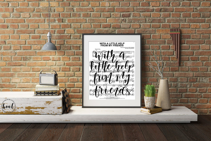 With A Little Help From My Friends - Calligraphy Sheet Music - Beyond Measure Living