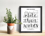 More Than Words - Hand Lettered Sheet Music | 5x7, 8x10, or 11x14 - Beyond Measure Living