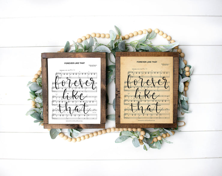 Forever Like That - Hand Lettered Sheet Music | 5x7, 8x10, or 11x14 - Beyond Measure Living