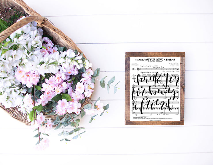 Thank You For Being A Friend Hand Lettered Sheet Music | 5x7, 8x10, or 11x14 - Beyond Measure Living