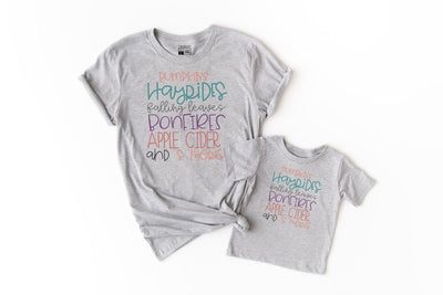 Pumpkins, Hayrides, Falling Leaves, Bonfires, Apple Cider, and S'mores | Cute Fall T-Shirt - Beyond Measure Living